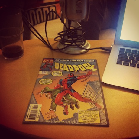 Photograph of Deadpool comic lying on a table.