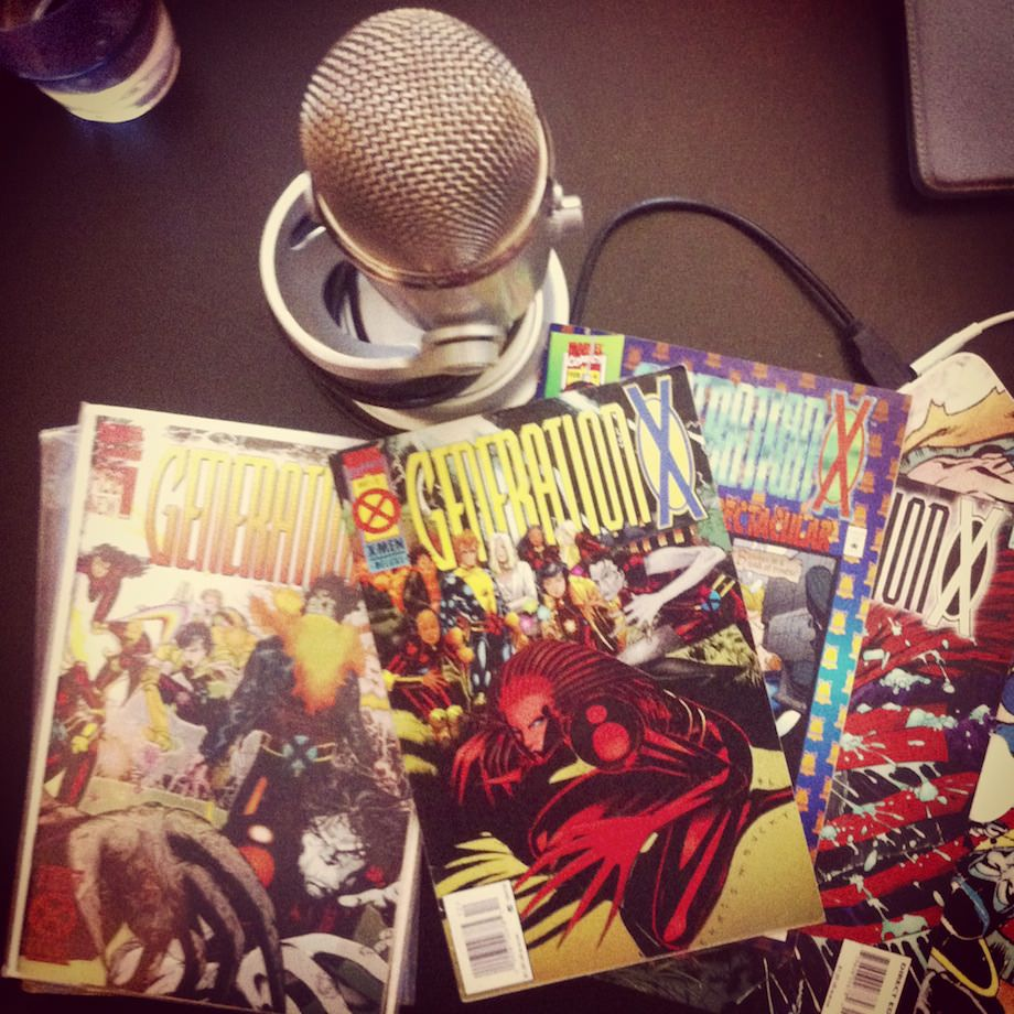 microphone and comic book covers