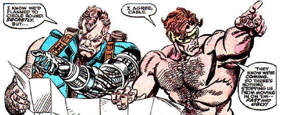 Drawing of Cable and a bare-chested Cyclops